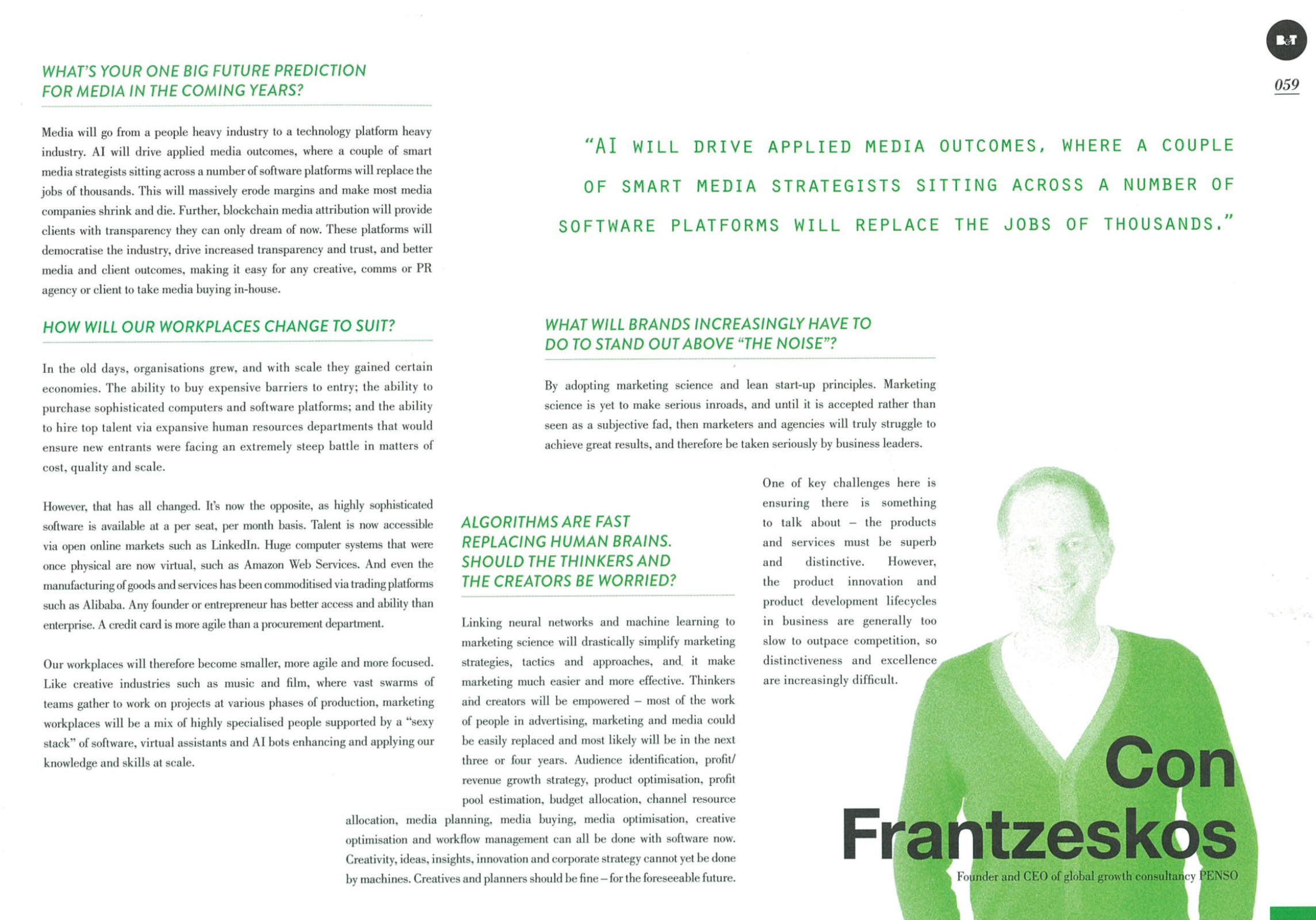 Con Frantzeskos on marketing strategy and trends